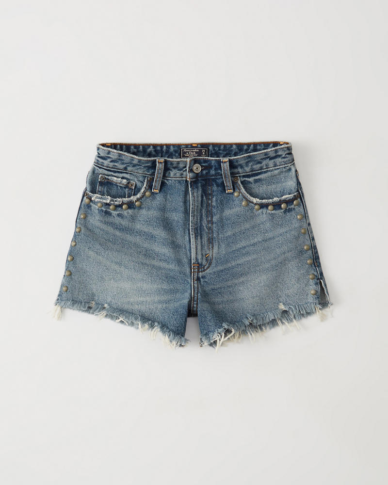 Studded High Rise Girlfriend Shorts by Abercrombie & Fitch
