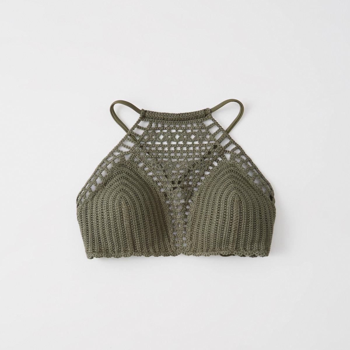 Crochet High-Neck Bikini Top