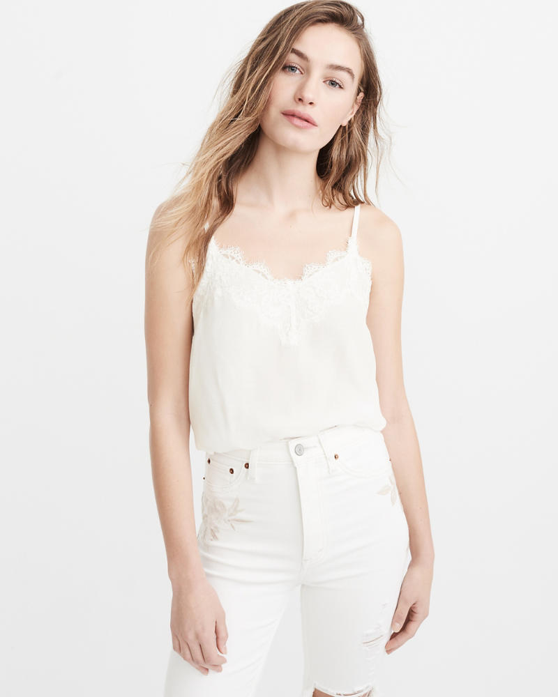Image result for abercrombie lace trim satin cami