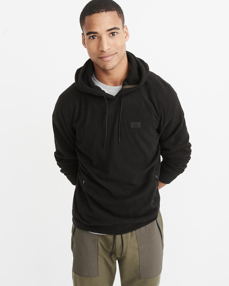 Mens Waffle Knit Hoodie Mens Tops Abercrombie Com