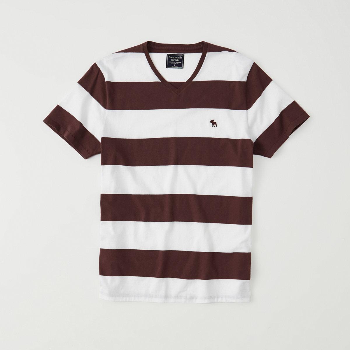Striped Icon V-Neck Tee