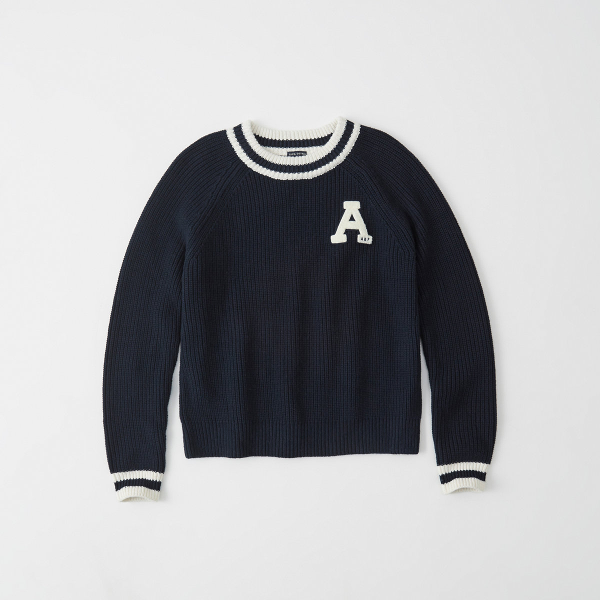 Crew neck knit varsity patch sweater