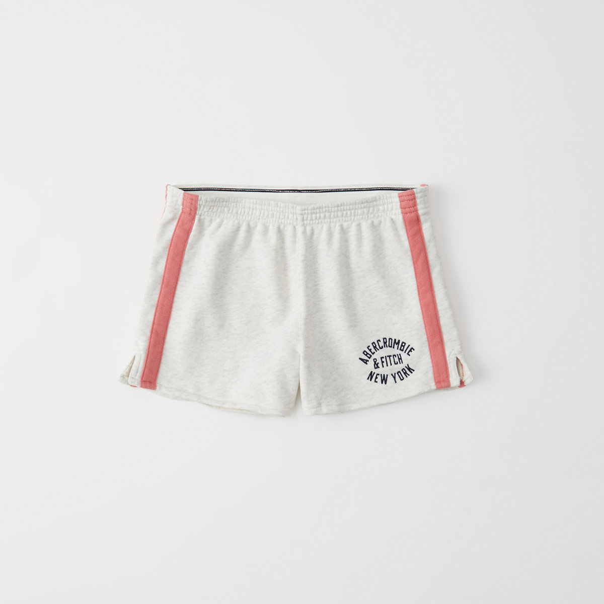 Abercrombie varsity logo shorts with sport stripe.