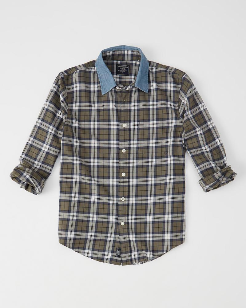 Mens Denim Collar Plaid Shirt Mens Clearance Abercrombie