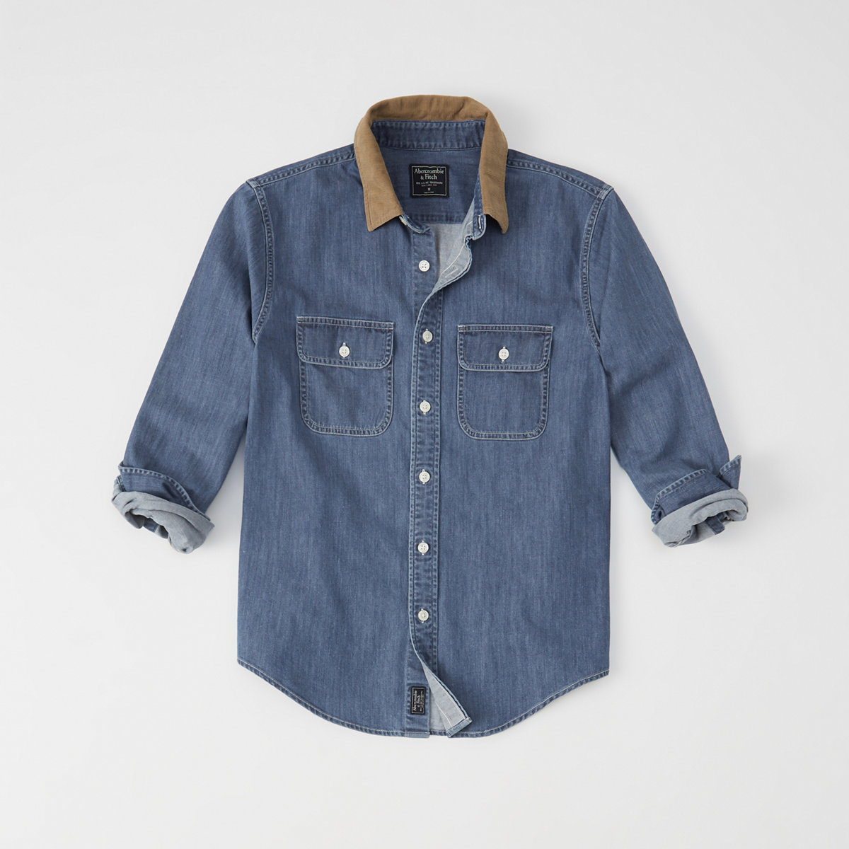 Corduroy Collar Denim Shirt