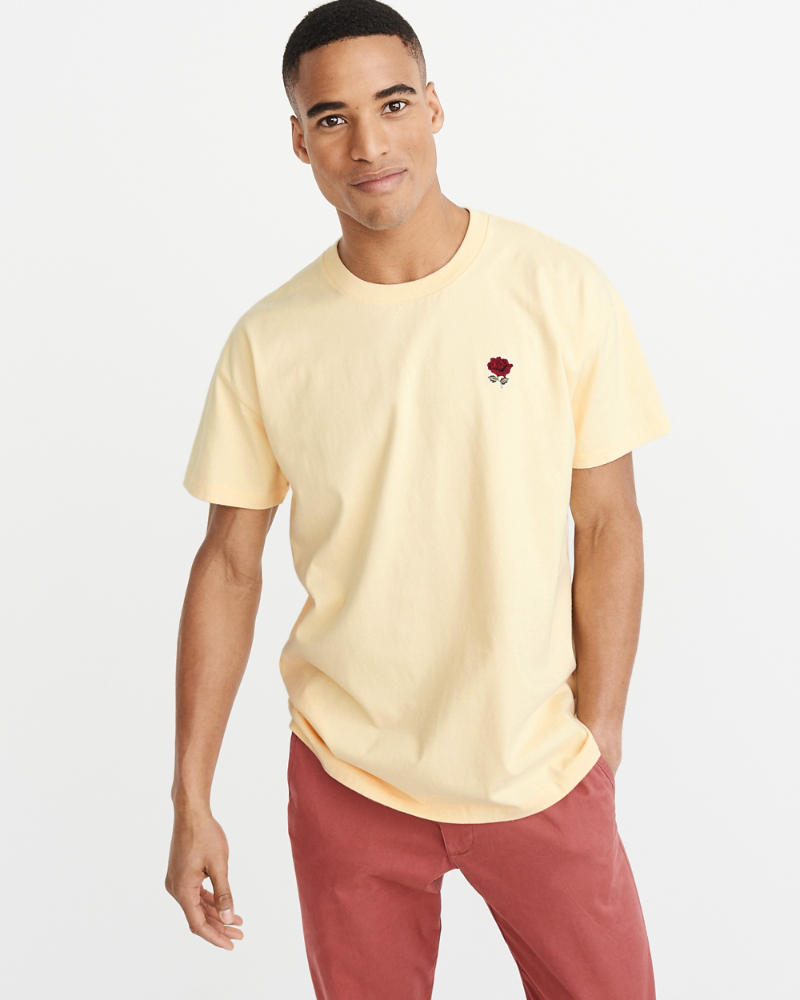 Oversize Embroidered Tee by Abercrombie & Fitch