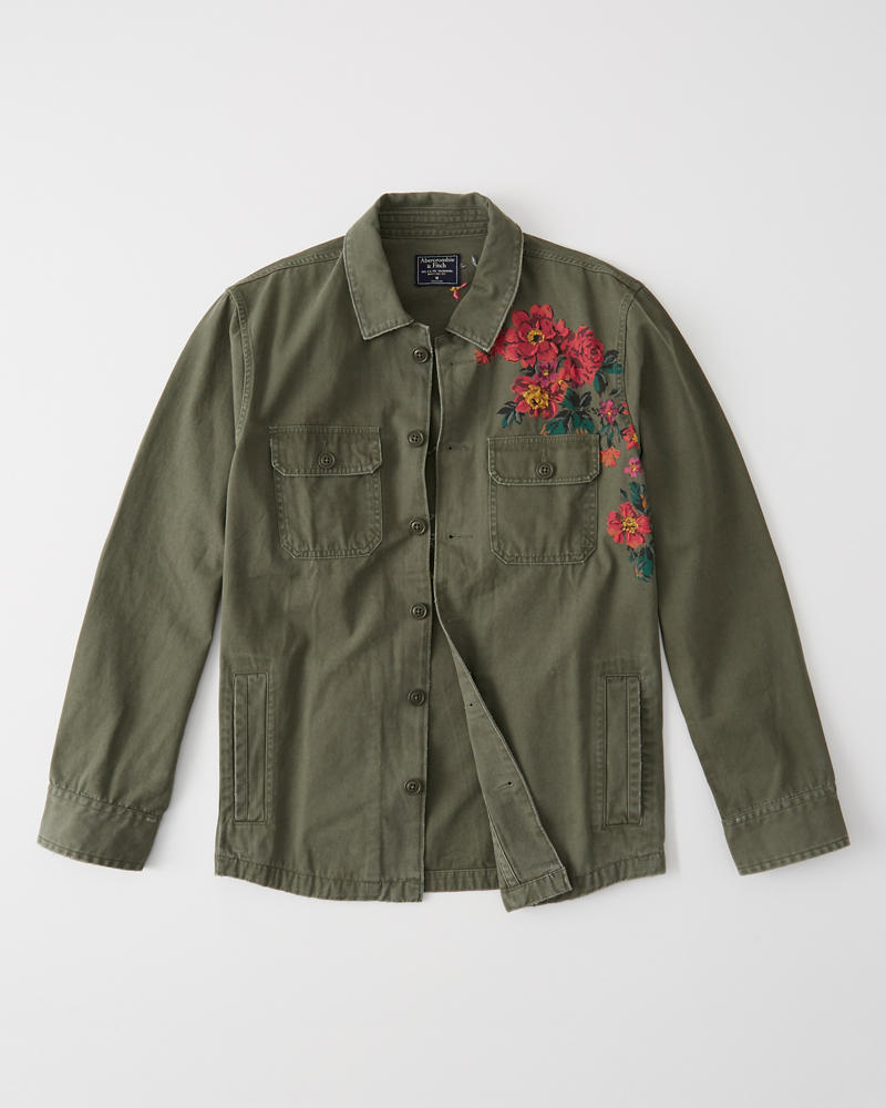 Embroidered Shirt Jacket | Tuggl