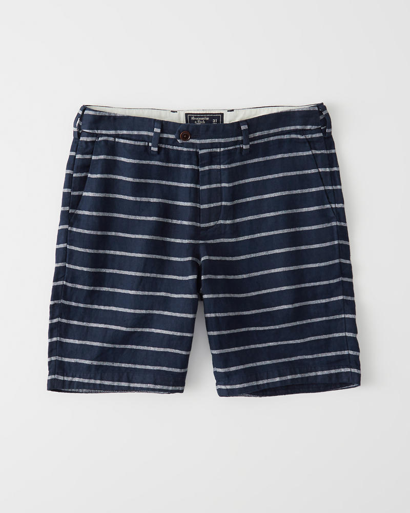 Linen Blend Plainfront Shorts by Abercrombie & Fitch