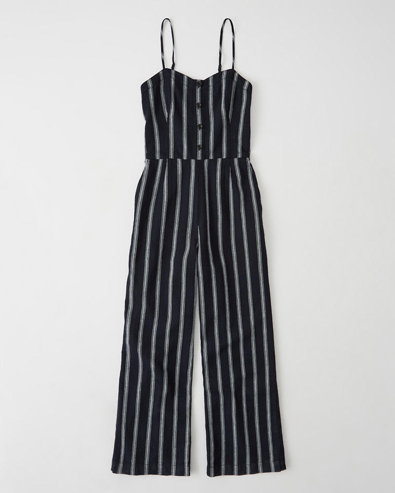 ccd8038950e Womens Button Cropped Jumpsuit