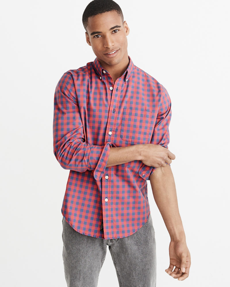Tall Fit Stretch Poplin Shirt by Abercrombie & Fitch