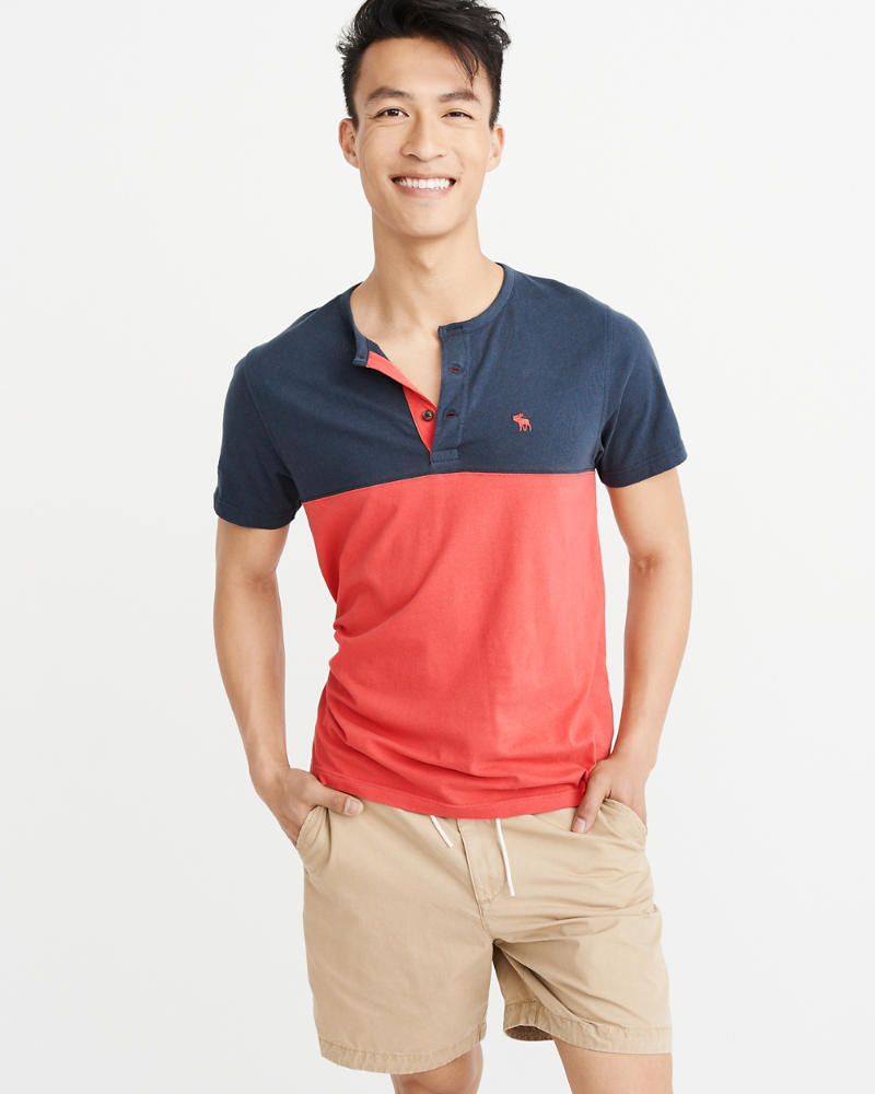 Colorblock Icon Henley by Abercrombie & Fitch