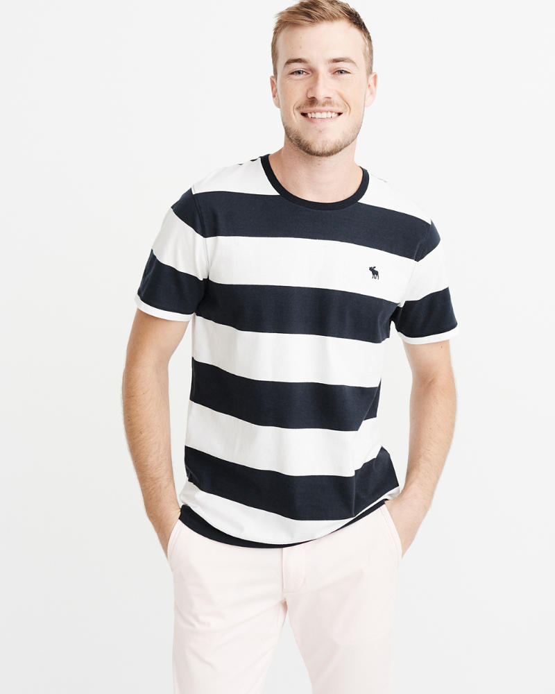 Striped Icon Crew Tee by Abercrombie & Fitch