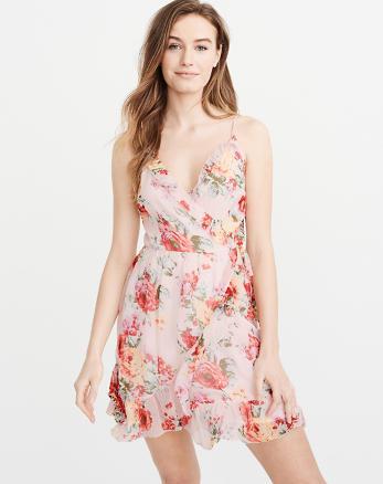 ANF Chiffon Ruffle Wrap Dress