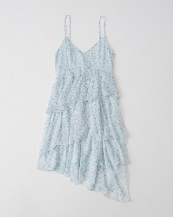 fda77d1a5e80b Womens Asymmetrical Ruffle Chiffon Dress | Womens Sale | Abercrombie.com