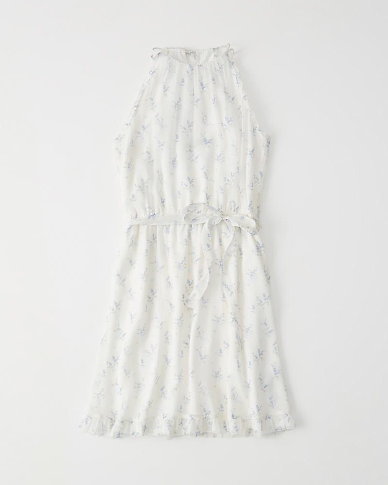 High Neck Floral Chiffon Dress by Abercrombie & Fitch