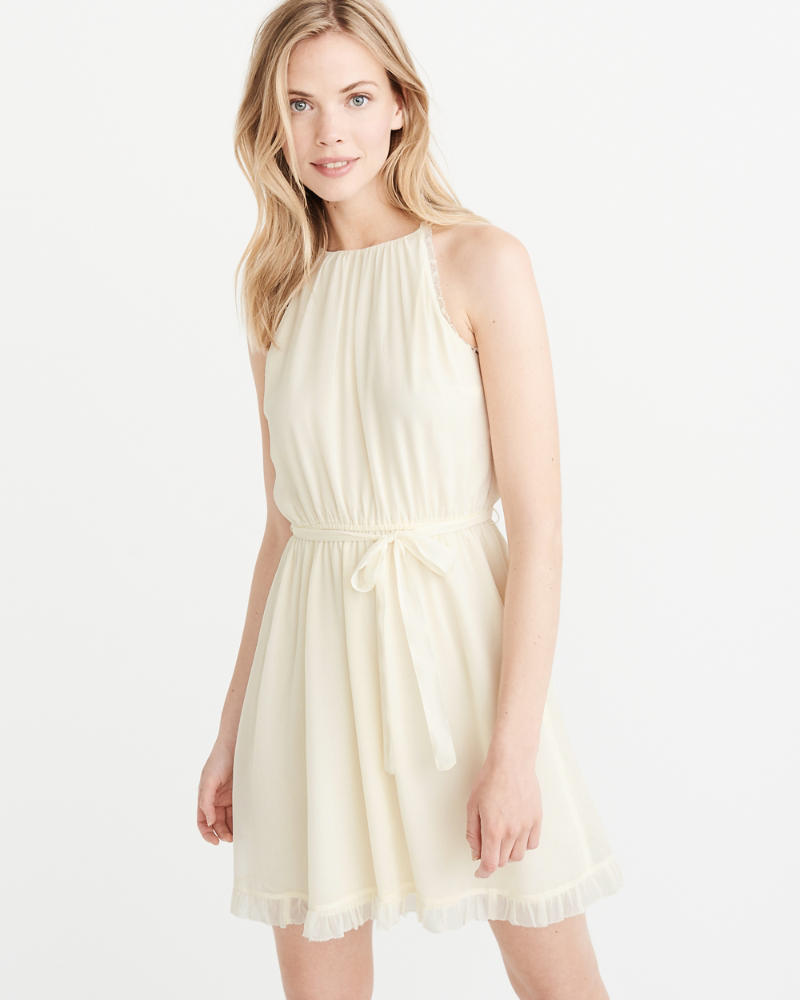 High Neck Chiffon Dress by Abercrombie & Fitch