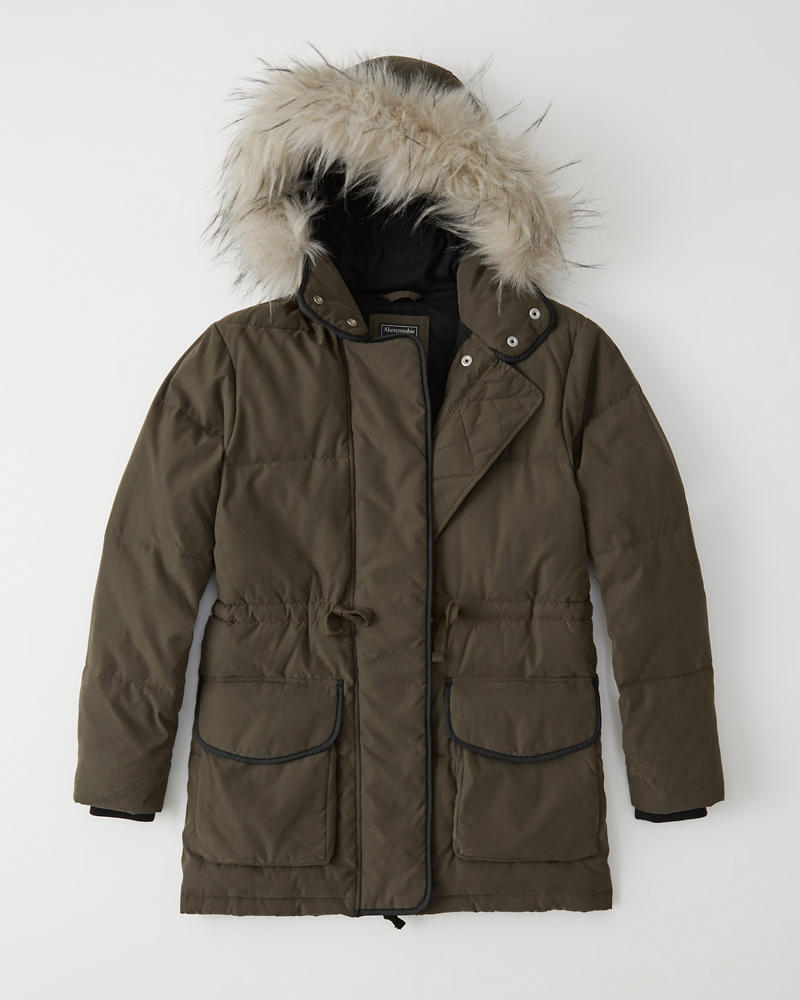 Faux Fur Hooded Puffer by Abercrombie & Fitch