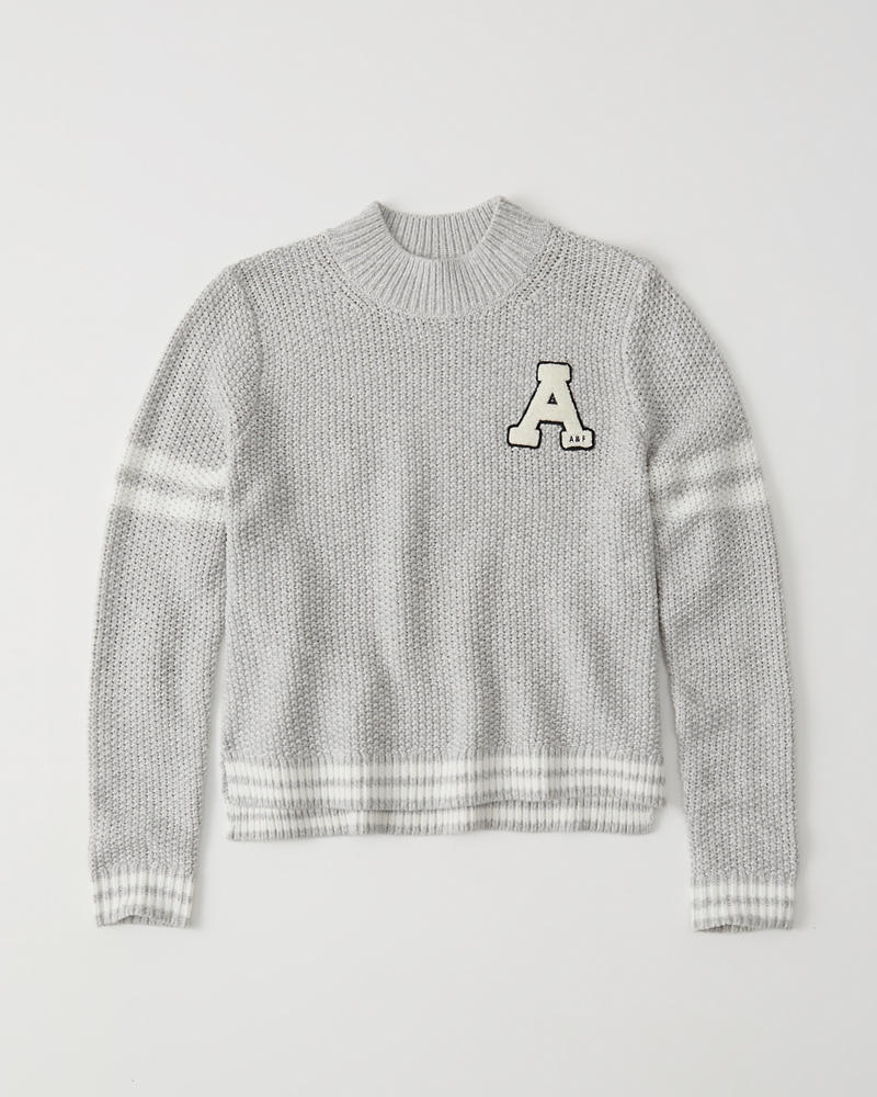 Varsity Logo Mock Neck Sweater by Abercrombie & Fitch