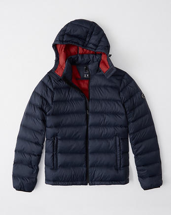 ANF Lightweight Removable Hood Packable Puffer