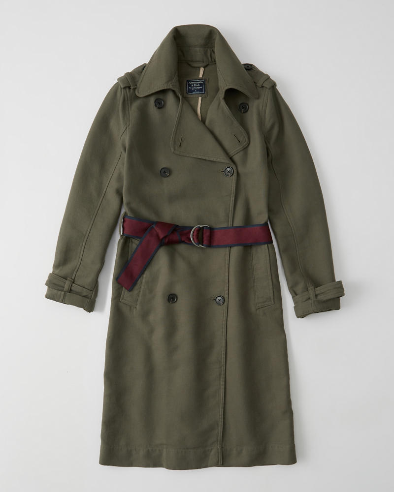 Belted Drapey Trench Coat by Abercrombie & Fitch