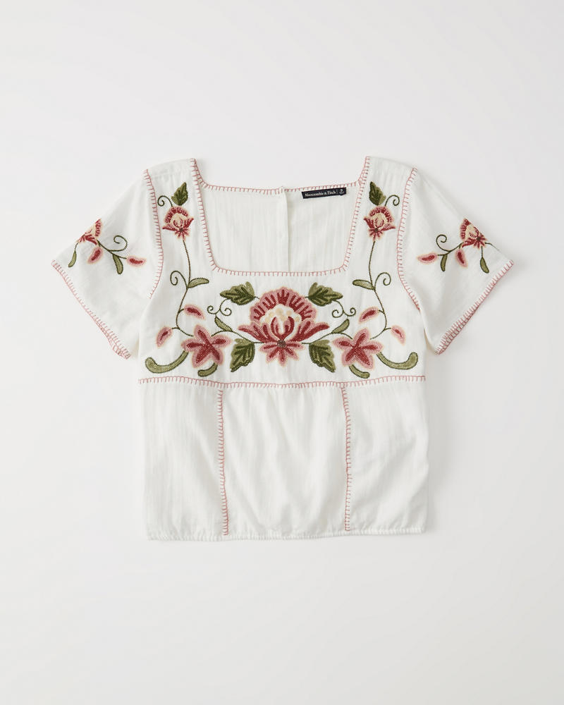 Womens - Top con bordado floral | Womens - Clearance | Abercrombie.com