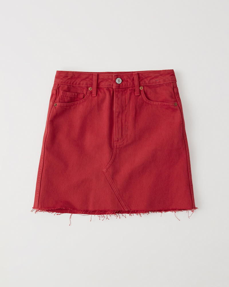 Red Denim Mini Skirt by Abercrombie & Fitch