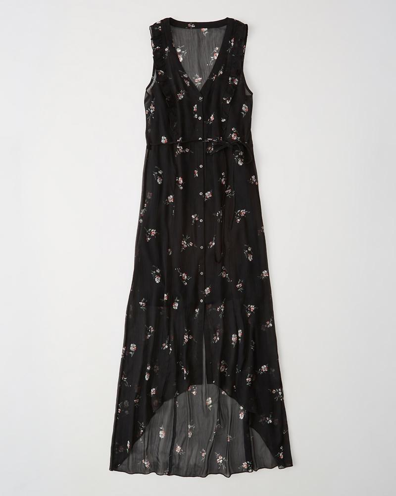 95d932c3dcfa2 Womens Button-Front High-Low Maxi Dress   Womens Sale   Abercrombie.com