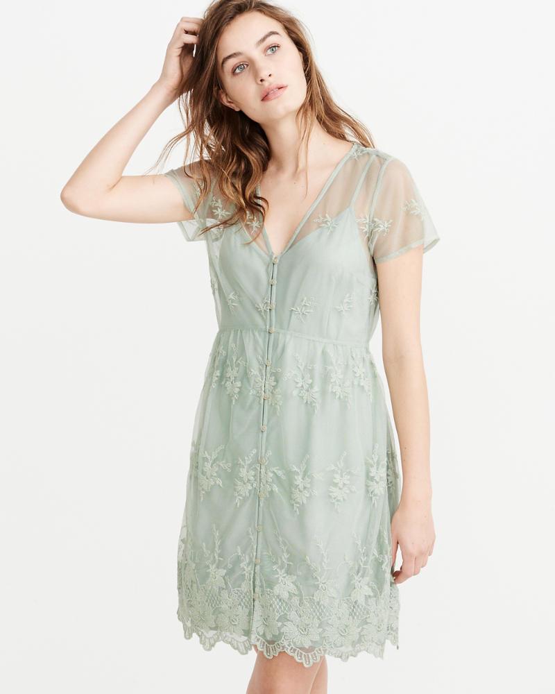 a4c19b7f Womens Short-Sleeve Lace Dress | Womens Dresses & Jumpsuits ...