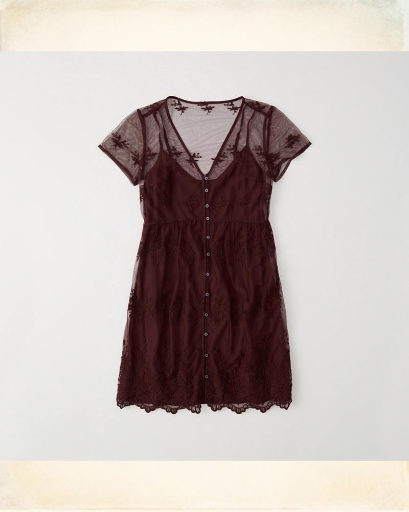 af223dfa Short-Sleeve Lace Dress