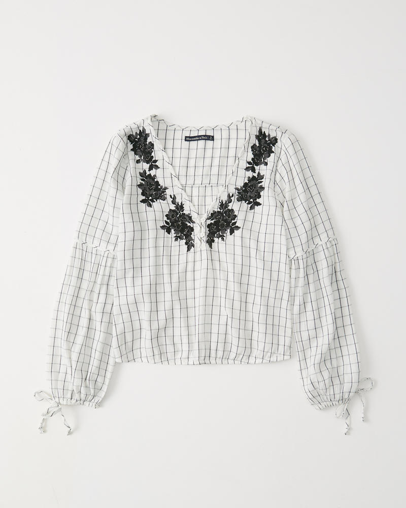 Beaded Embroidered Peasant Top by Abercrombie & Fitch
