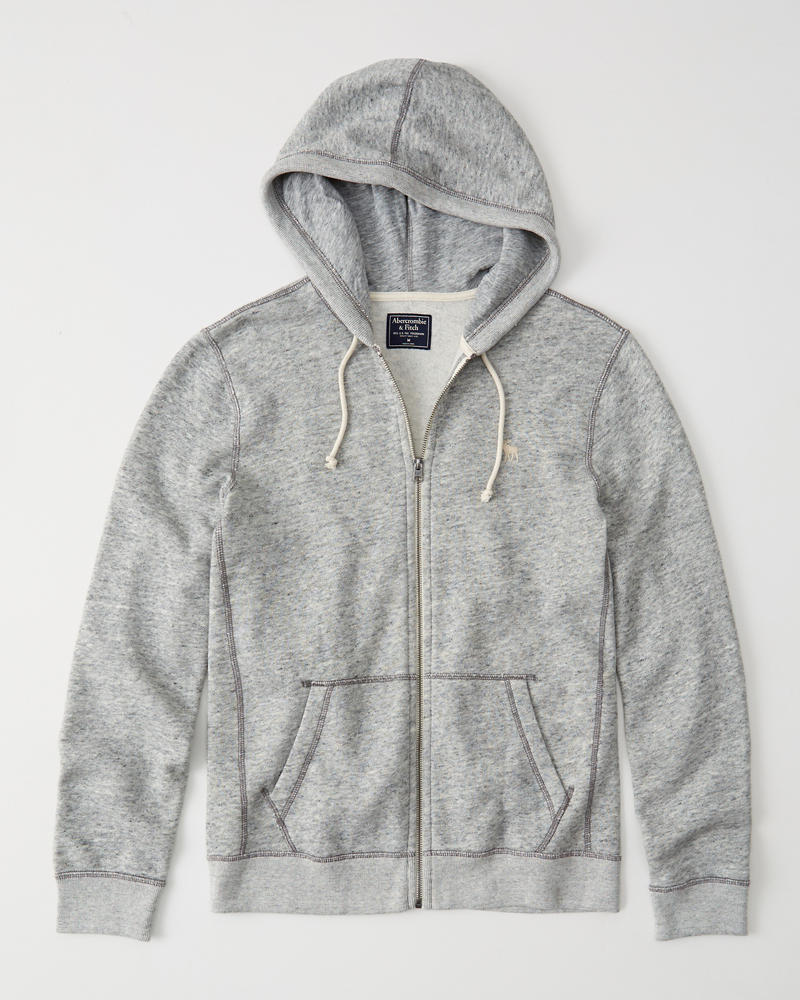 Fleece Full-Zip Icon Hoodie | Abercrombie com hk