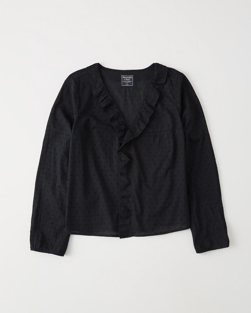 Ruffle V Neck Blouse by Abercrombie & Fitch