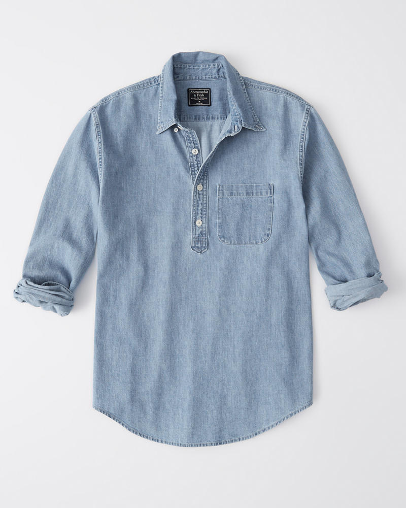 Denim Popover Shirt by Abercrombie & Fitch