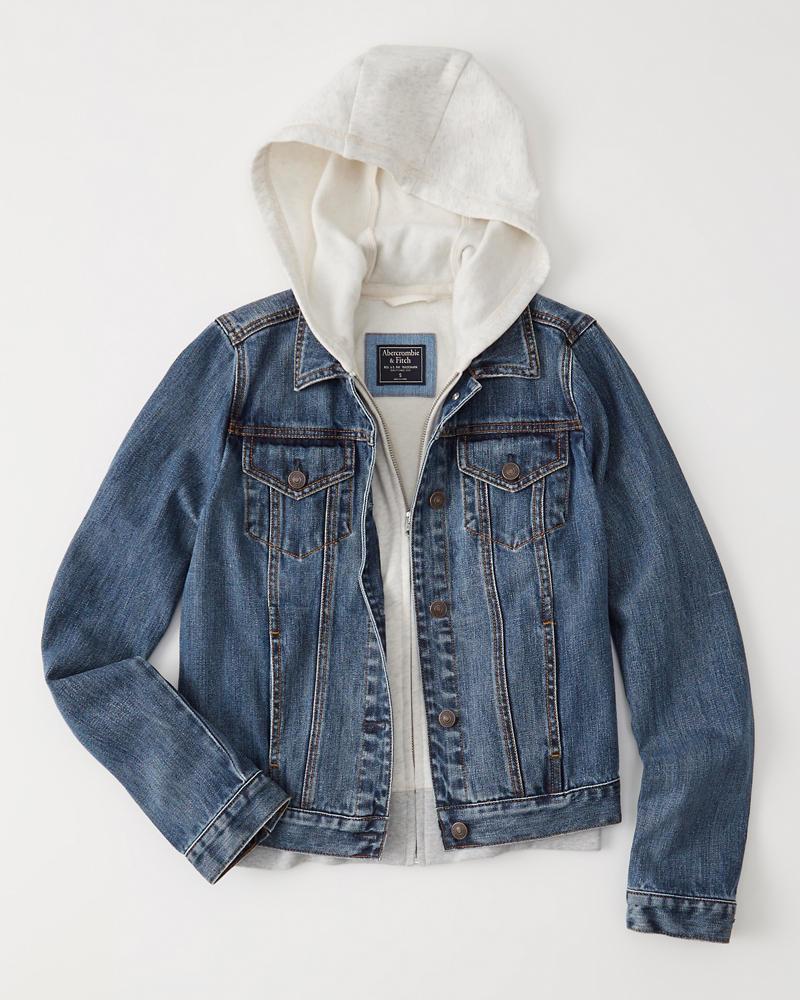 Womens Hooded Denim Jacket Womens Sale Abercrombie Com