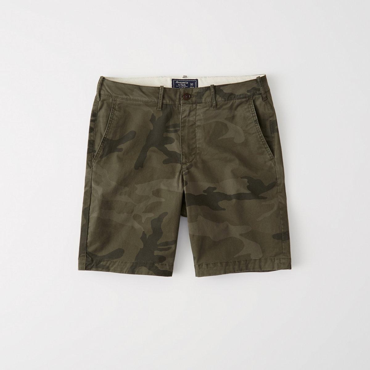 Plainfront Camo Shorts