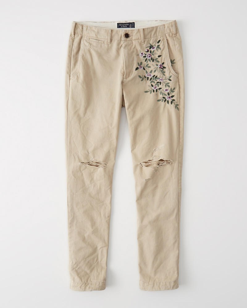 Destroyed Athletic Skinny Chinos by Abercrombie & Fitch