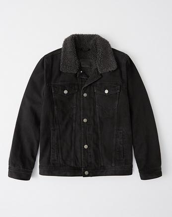 Chaqueta de denim con sherpa en negro 3c3945420840b