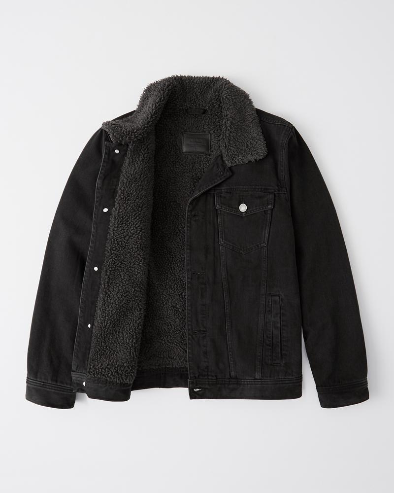 036c81d39a Sherpa Black Denim Jacket | Abercrombie.co.jp
