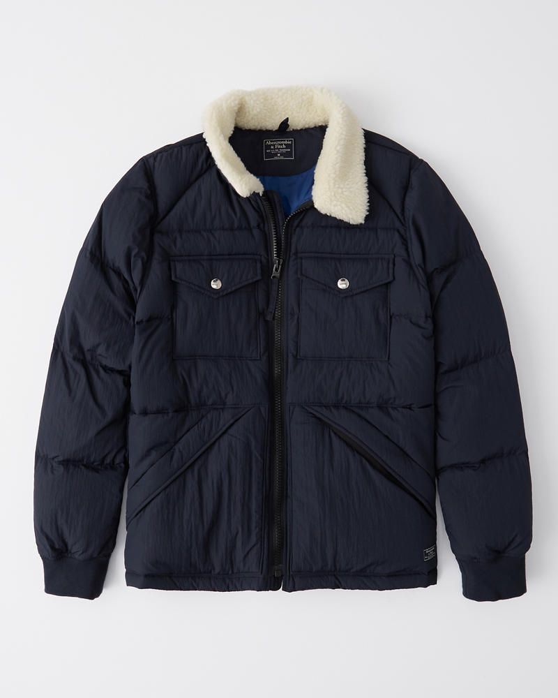 Sherpa Collar Puffer by Abercrombie & Fitch