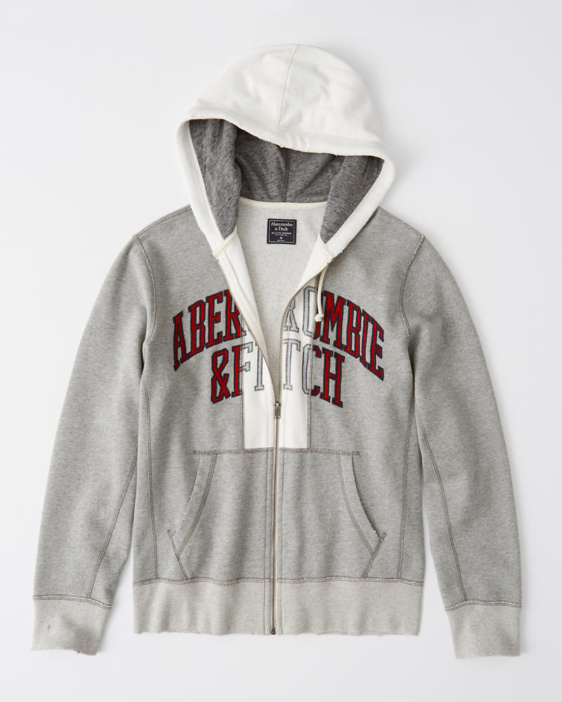 Deconstructed Full Zip Logo Hoodie by Abercrombie & Fitch
