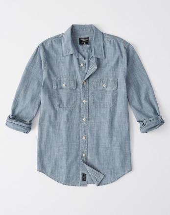 86f16c41ccd Chemise en chambray à deux poches