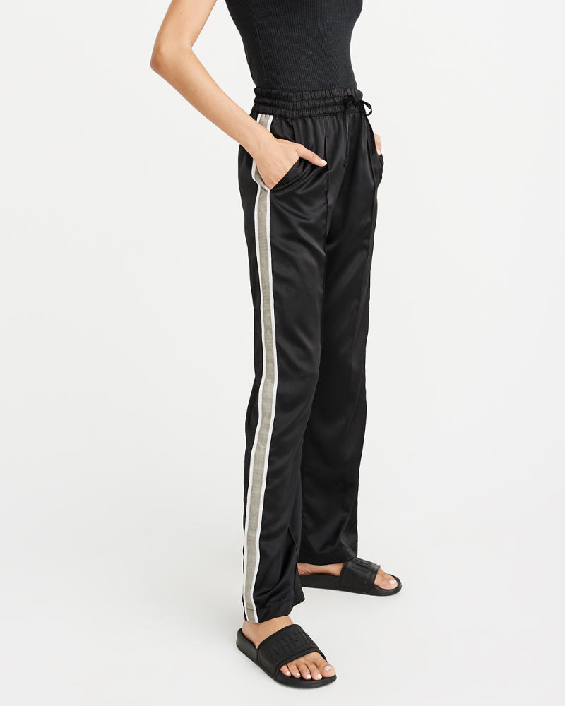 High Rise Wide Leg Track Pants by Abercrombie & Fitch