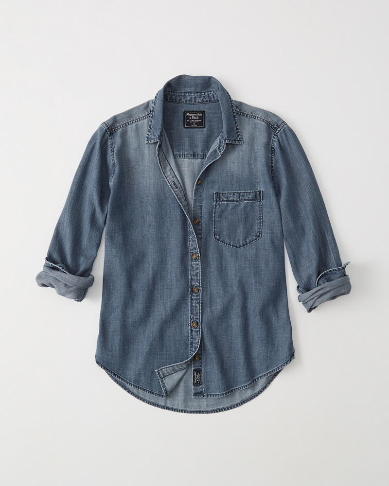 Womens Chambray Shirt Womens Tops Abercrombie