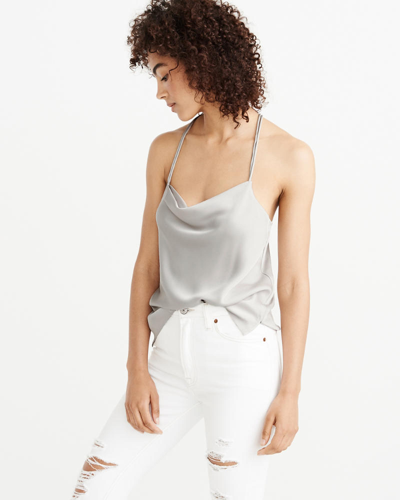 Satin Cowl Neck Cami by Abercrombie & Fitch
