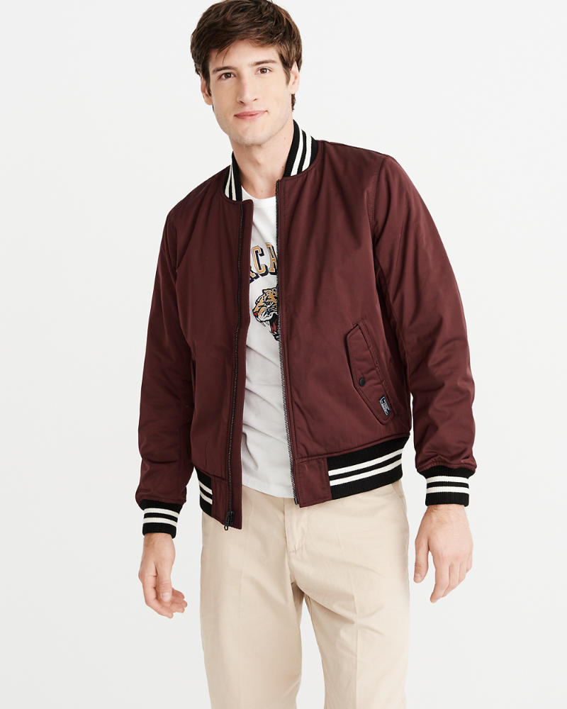 Varsity Bomber Jacket by Abercrombie & Fitch