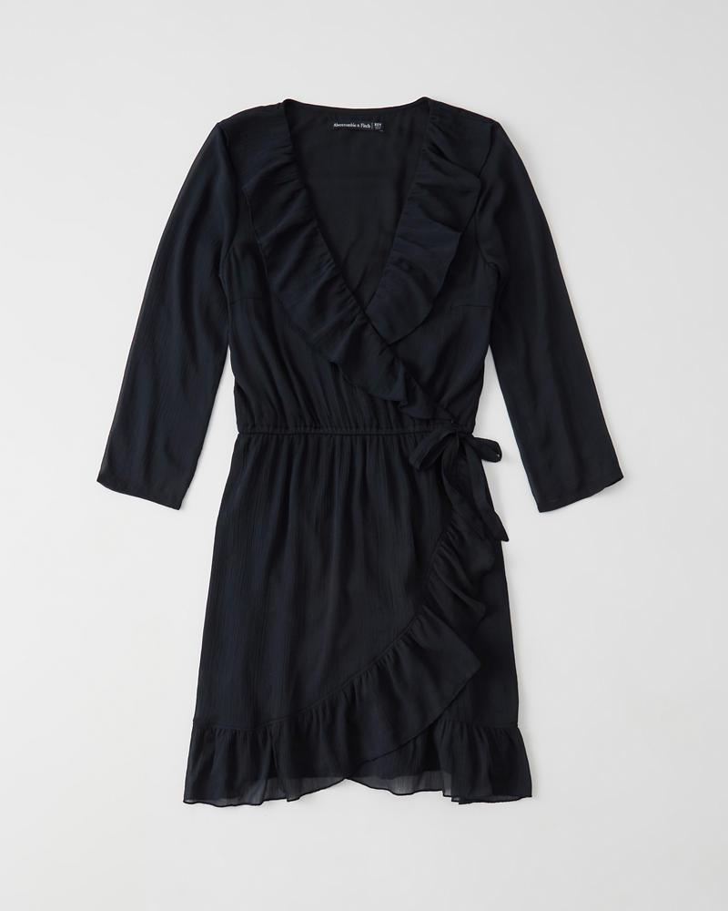 8f570f970a3c Womens Wrap-Front Ruffle Dress