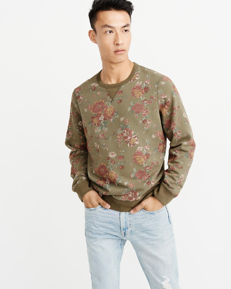 Floral Crew Sweatshirt by Abercrombie & Fitch