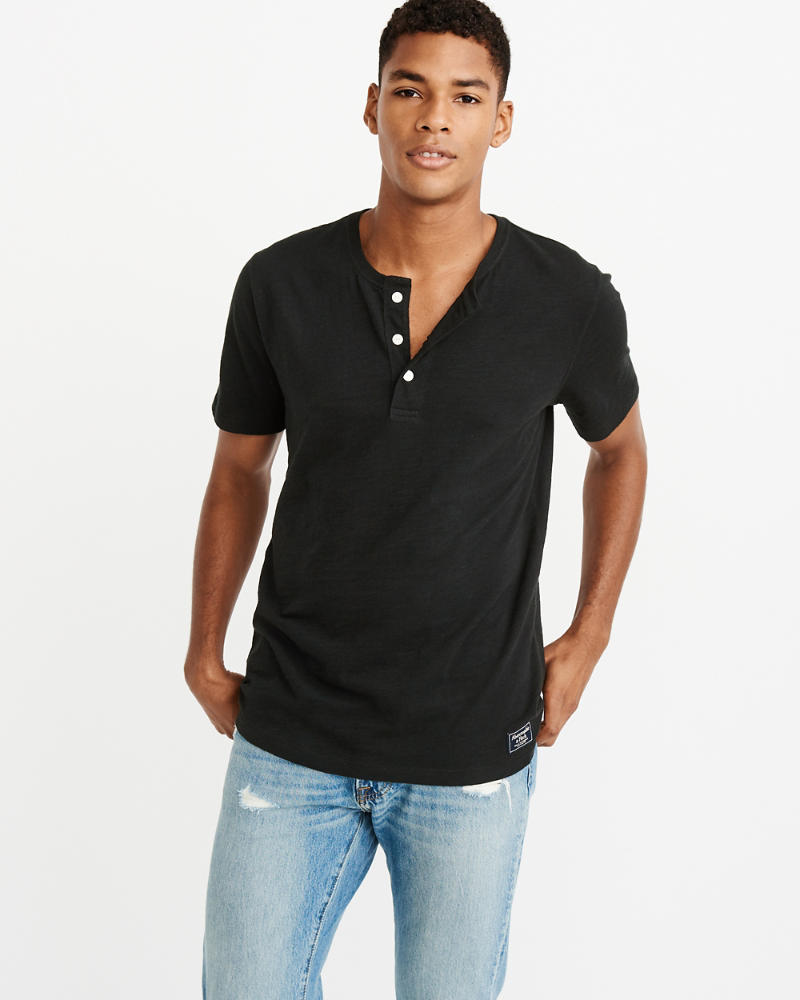 Short Sleeve Slub Henley by Abercrombie & Fitch