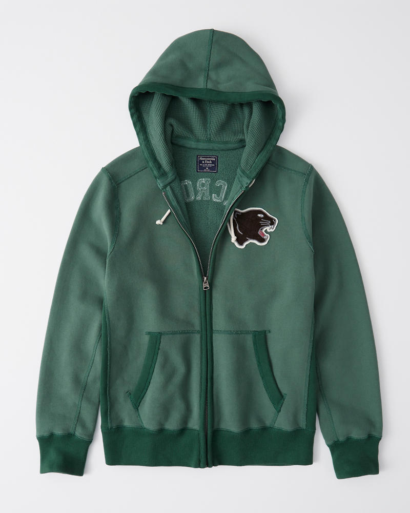 Heavyweight Heritage Logo Full Zip Hoodie by Abercrombie & Fitch