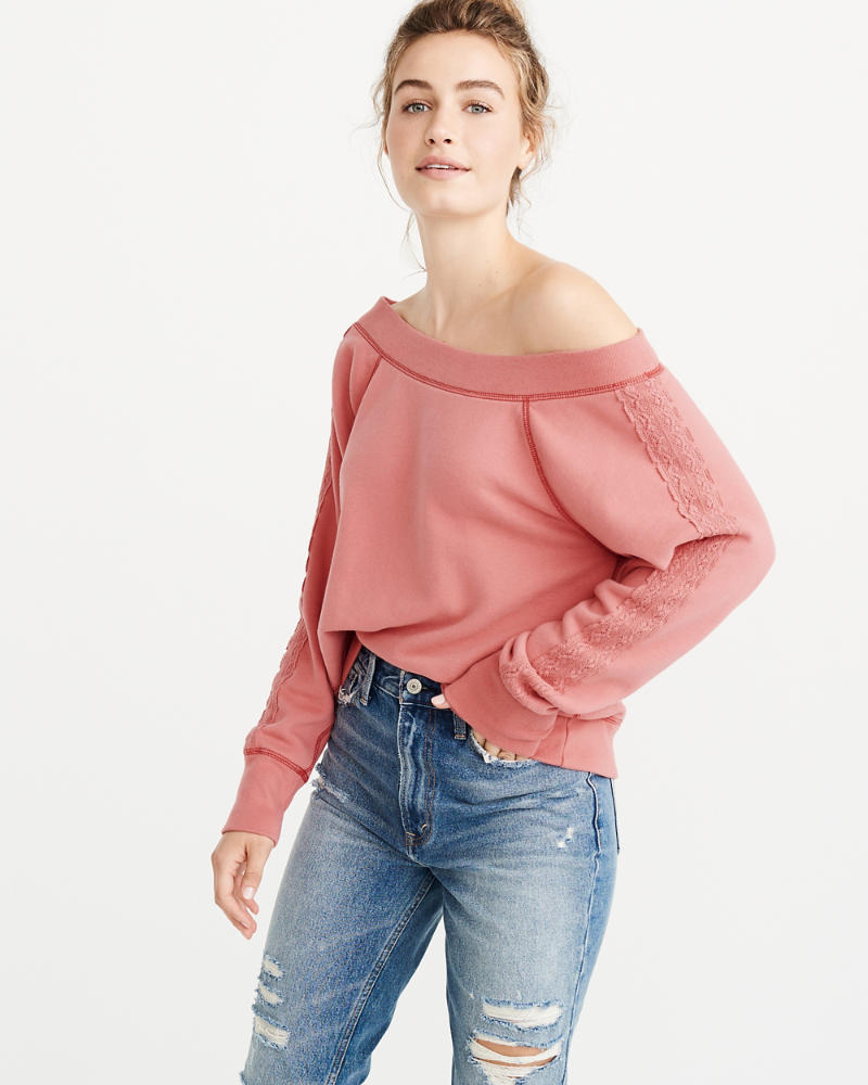 Off The Shoulder Crew Sweatshirt by Abercrombie & Fitch